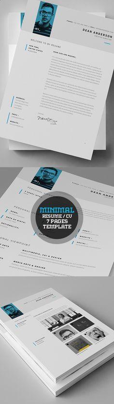 Minimal Resume / Currriculum Vitae (7 Pages) à cause de photo colorisée en bleu, idée.