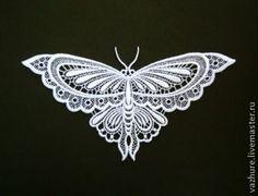 """Купить Кружевной элемент """"Бабочка1"""". - белый, кружево, кружево для отделки, бабочка, кружевная вставка"""