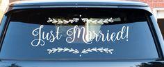 Wedding Getaway Car Decal Just Married Car decal by MomMadeTacos #justmarrieddecal #gettingawaycar #weddingdecal