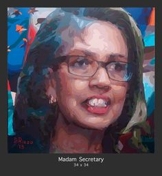 """""""Madam Secretary"""" a visual juxtaposition of International Diplomacy. This new Donald Rizzo painting continues the """"Shades of Purple"""" series. This painting compares and contrasts Hillary Clinton and Condoleezza Rice. See the entire gallery at http://donald-rizzo.com/gallery/shades-of-purple/"""