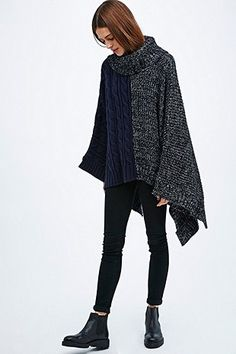 Silence + Noise Colour Block Knitted Cape in Navy and Black - Urban Outfitters