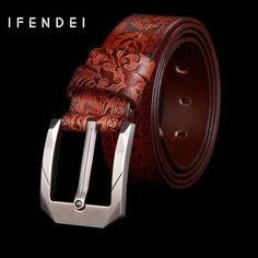 IFENDEI Belt Men Genuine Brown Leather Belt Luxury Business Metal Pin Buckle Belts Casual Black Red Leather Strap For Suit Jeans