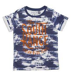 Indian Blue Jeans t-shirt in een all over palmbomenprint en flock tekst print aan de voorzijde - Blauw dessin - NummerZestien.eu
