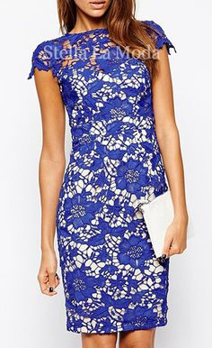 $37.99 Pencil Lace Overlay Midi Dress