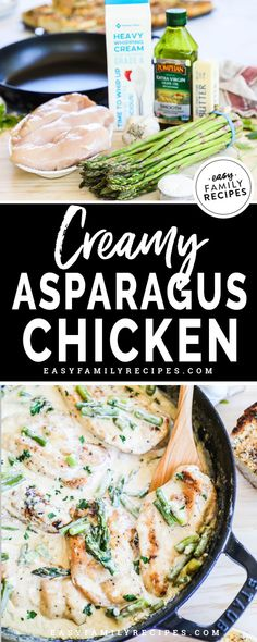 Rich & Creamy Chicken and Asparagus Skillet · Easy Family Recipes : Husband FAVORITE! He requests this creamy chicken and asparagus at least once a week. It is rich and delicious and perfect for a quick and easy dinner idea! Easy Family Meals, Easy Meals, Family Recipes, Healthy Chicken Recipes, Cooking Recipes, Skillet Recipes, Quick Chicken Dinner Recipes, Healthy Asparagus Recipes, Skillet Dinners