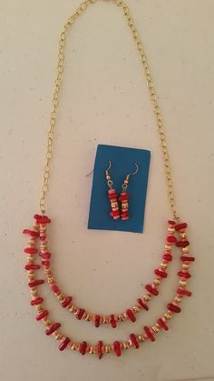 Golden Chain with red, pink and coral beads