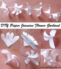 DIY Indian Paper Jasmine Flower Garland - Tutorial - Sew Historically - - This DIY Indian paper jasmin flower garland is easy and fast to make. You don't even need glue for the paper jasmine flowers! Flower Garland Wedding, Paper Flower Garlands, Paper Flowers Diy, Flower Crafts, Fabric Flowers, Flower Diy, Origami Flowers, Flower Ideas, Indian Diy