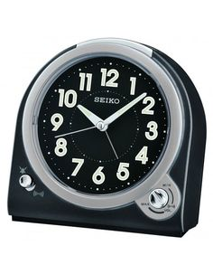 Seiko Black Metallic Bedside Alarm Clock - Quiet Sweep - Beep or Bell Alarm