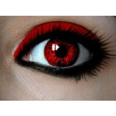 Awesome vampire eye make-up with red contacts & eyeshadow Pretty Eyes, Cool Eyes, Beautiful Eyes, Cool Contacts, Colored Contacts, Eye Contacts, Shades Of Red, Eye Make Up, Halloween Makeup