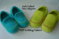 Knitting Pattern PDF Kids' Hand Knit Felted Slippers.