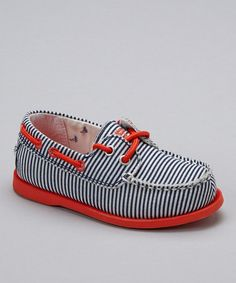 Red & Blue Stripe Alex Boat Shoe #zulily #ad *so cute