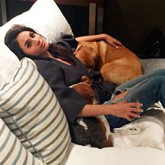 After a long day of shooting it's date night with my boys and @lindsayjillroth #homesweethome #bogart&guy #adoptdontshop #meghanmarkle