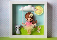 Baby Decorative Frame, Child Frame Decoration with girl, Personalised Felt box Frame, Personalized Nursery Decor, felt doll, felt animals