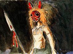 San Attacks Irontown fromPrincess Mononoke#37Studio Ghibli/Miyazaki Background and Concept Art Series