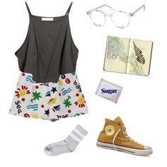 Untitled #134 by greerveronica on Polyvore featuring Monki, Spitfire, Moleskine and Converse