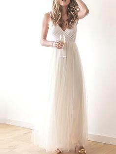 Champagne Polyester Sleeveless Maxi Dress