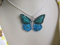 Butterfly Jewelry Blue Butterfly Necklace Glass by AimeezArtz,