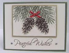 Stampin' Up! Christmas Card Kit PEACEFUL WISHES Pine Cone Gold - Set of 5 Cards