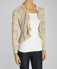 Another great find on #zulily! Champagne Lace Ruffle Shrug - Plus by R&M Richards #zulilyfinds