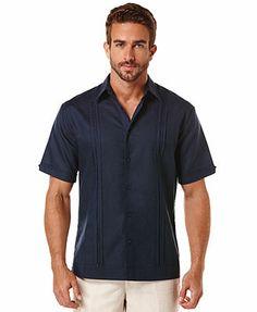 Cubavera Pleated Panel Linen-Blend Shirt