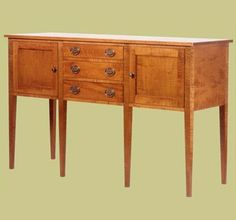 Tiger Maple Country Hepplewhite Sideboard by Taylor Woodworks