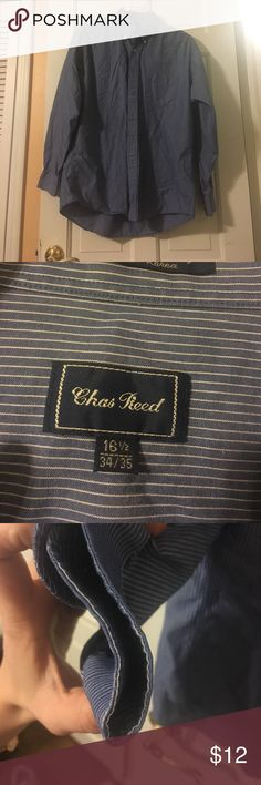 Chas Reed Blue and white striped shirt Worn with love. Still in great condition. There is some wear on the left cuff a little more wear on right(refer to pictures) Chas Reed Shirts Dress Shirts