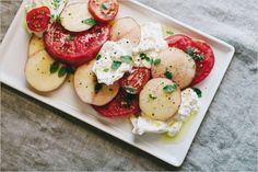 NECTARINE, TOMATO + BURRATA CAPRESE — Sprouted Kitchen. Found At: http://www.sproutedkitchen.com/home/2015/9/12/nectarine-tomato-burrata-caprese