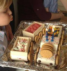 Great birthday cake - ice cream train!