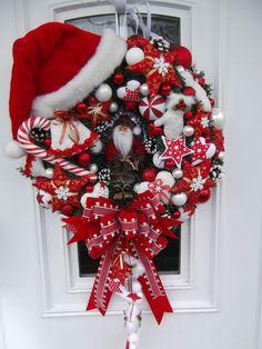 Türkranz Weihnachtskranz Weihnachtsdeko Rot-Weiß Tilda-Art | eBay