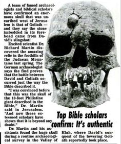 Amazing! Top Bible scholars confirm this is the skull of Goliath [from the Bible David and Goliath] Archeologists found last year.