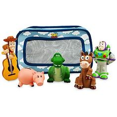 Disney Toy Story Bath Toys for Baby   Disney StoreToy Story Bath Toys for Baby - Here's a virtual toybox of bathtime pals - Buzz, Woody, Bullseye, Hamm, and Rex too! All together in a handy bag that attaches to the tub, these tubby toys are sure to become favorites!