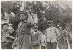 Spain - 1937. - GC - Republican fighters marching, Madrid, June 1937//Gerda Taro