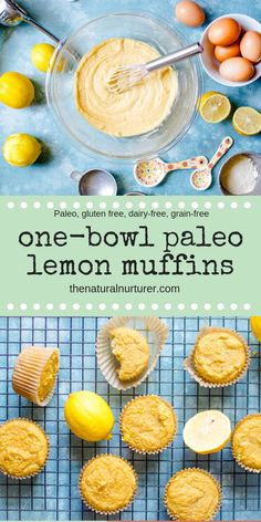 Dairy free - Gluten free - Lactose free - Paleo - Refined sugar free - These One-Bowl Lemon Muffins are so easy to make in one bowl and are so delicious! Gluten free, dairy free, and refined sugar free- they make a great breakfast, snack or dessert. Paleo Dessert, Paleo Sweets, Keto Desserts, Plated Desserts, Dessert Recipes, Dairy Free Recipes, Gluten Free Recipes, Whole Food Recipes, Diet Recipes