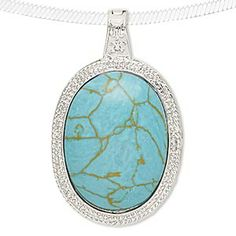 """Pendant, turquoise (imitation) and silver-finished """"pewter"""" (zinc-based alloy), blue-green, 62x38mm oval with hinged magnetic bail. Sold ind..."""