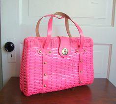 Vintage Hot Pink Plastic Wicker Handbag Super 60s Incredible Rockabilly Mod Fashion