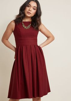 Certified Stunner Midi Dress in Burgundy in 3X - Sleeveless Fit & Flare