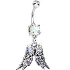 Aurora Gem Elegant Angel Wings Dangle Belly Ring | Body Candy Body Jewelry #bodycandy #bellyring #piercing