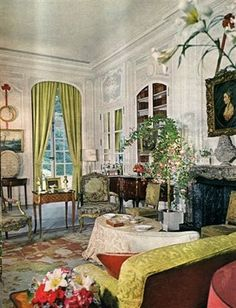 The Drawing Room of Winfield House - the residence of the Ambassador of the United States of America to the Court of St. James's - as decorated by John Fowler is the early 1960s when Ambassador David K.E. Bruce and his exquisite wife Evangeline were in residence. Shortly after World War II, Winfield House had been given by the legendary heiress Barbara Hutton to the U.S. to be used as the official residence of the American Ambassador for one American dollar.  whitehaveninteriors.blogspot.com
