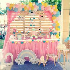 Ateliê VM Decor Aquela chuvinha de amor tema lindooo amo fazer Orçamentos 989432143 #festainfatil #chuvadeamor #festachuvadeamor #fedtademenina #festafortaleza #AteliêVMDecor Sunshine Birthday Parties, Unicorn Birthday Parties, First Birthday Parties, First Birthdays, Barbie Birthday, Baby Girl Birthday, Balloon Decorations, Birthday Party Decorations, Rain Baby Showers