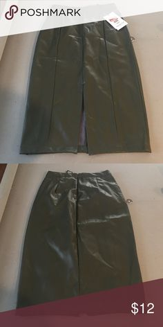 "Faux Leather green moss colored skirt. Past the knee length. Front slit. High-waisted. Faux Suede inside lining. ""Who What Wear"" Target brand. WhoWhatWear Skirts Pencil"