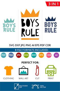 Boys Rule SVG Cut Files Wall Art Quote Printable Art Decor Bedroom Living room Art Printable Poster (Svg Dxf Cdr Eps Ai Jpg Pdf Png)