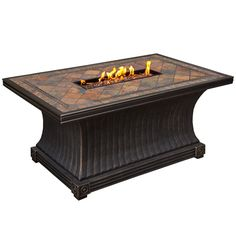 Oakland Living Corporation Florence Rectangular Slate Topped Gas Firepit Table with Red Lava Rock Strip Burner and Weather Cover