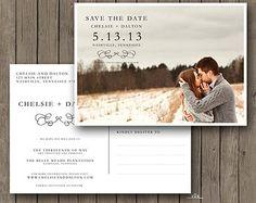 Printable Save the Date Postcard Script by FlaneryDesignCo