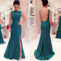 Barato 2015 nova esmeralda verde Vestidos De noite Vestidos De Festa Longo parágrafo Casamento Vestido Longo De Renda Backless tribunal trem Vestido