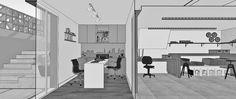 Nessa imagem é possível entender como será a ligação entre a oficina, o escritório e o jardim. Assim é bom demais trabalhar!