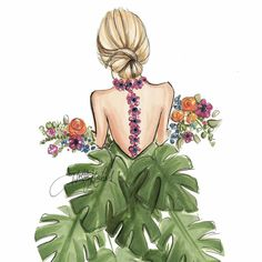 girl with monstera skirt and flowers Art And Illustration, Illustrations, Girly Drawings, Easy Drawings, Foto Fashion, Fashion Art, Fashion Design, Fashion Sketches, Art Sketches
