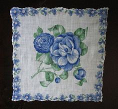 Pretty Blue Vintage Handkerchief by DeborahVoizin on Etsy, $6.00