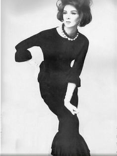 Wilhelmina in a Givenchy designed crepe dress, Vogue, November 1962