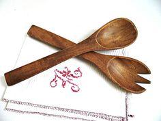 Vintage Set Salad Server Tossers Handcarved Wooden Spoon Fork
