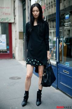 #Black out! A dark #ensemble requires the right 'tude, which this model executes perfectly.